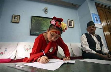 Chanira Bajracharya studying