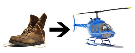shoe becomes helicopter